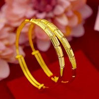Solid Bracelet Yellow Gold Filled Charming Expandable Bangle Womens Girls Jewelry Gift
