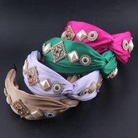 Мода богемный стиль Silk ткань Inlaid горный хрусталь жемчужный оголовье дамы вечеринка путешествия аксессуары для волос головные уборы