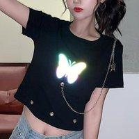 Women's T-Shirt QWEEK Punk Crop T-shirts For Women 2021 Fashion Korean Style Chain Short Sleeve With Print Summer White Top Female