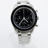 High Quality Quartz Chronograph Function Mens Watch Speed Moon Watches Stainless Steel Flod Clasp Mens Wristwatches