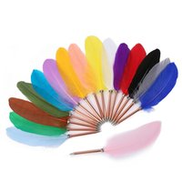 Feather Pen Office Signature Ballpoint Pens 0.5mm Black Ink Christmas Gift Wedding Advertising Art Multi Color GYL85