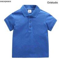 Bebek Çocuk Tees Polos Çocuk T-shirt Yaka Kısa Kollu Yaz Pamuk Giysileri Birincil Erkek ve Kız Toddler Tees Moda Klasik