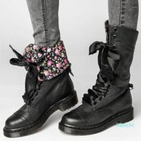 Boots Floral Motocycle Booties Women Female PU Leather Ankle Square Heel Autumn High-top Vintage Shoes