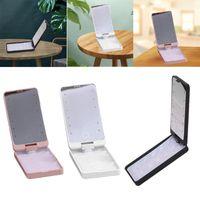 Compact Mirrors Adjustable False Eyelash Holder Storage Case With LED Light Mirror Practical Lash Travel Organizer Beauty
