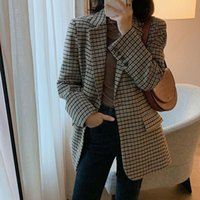 Women's Suits & Blazers Arrival Spring Autumn Korea Fashion Women Long Sleeve Loose And Jackets Femme Coat Vintage Woolen Plaid Blazer