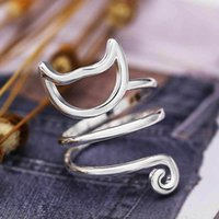 Cluster Rings USTAR Lovely Cat Opening For Women Girl Animal Jewelry Silver Finger Adjustable Female Party Anel Bague