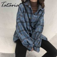 Spring Autumn Woolen Plaid Blouses and Shirts for Women Casual Long Sleeve Elegant Shirt Female Winter Cotton Lady Tops Blouses 210406