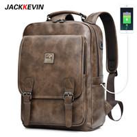 Jackkevin رجالية الرجعية الجلود حقيبة الظهر متعددة الوظائف سعة كبيرة الرجال حقيبة السفر حقيبة الظهر محمول للماء mochila 201116