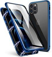 Magnetic Adsorption Metallrahmen-Gehäuse Vorder- und Rücken-Gehärtetes Glas Vollbild-Abdeckung für iPhone 11 PRO MAX XR xs max 6 7 8 plus 100 teile / los