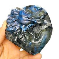 Натуральный лабрадорит вырезанный кристалл волков головы кварцевые фигурка заживление кристаллов из комнаты декор эстетики фэн Shui Lucky подарок декоративные предметы
