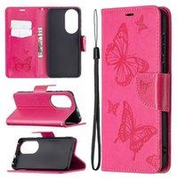 Brieftasche Leder Hüllen für Huawei P50 Pro Samsung A02 A72 5G A52 A32 4G Schmetterlingsarmband Niedlichen Cartoon-Standkartenhalter Ganzkörper-Telefon-Abdeckung Luxus