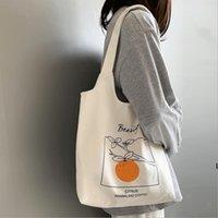 Canvas-Tasche Früchte Orange Pfirsich Gedruckt Umhängetaschen Handtasche Literatur Japanischer Stil Student Unterwärkes Design Hochleistungs-DHC7392