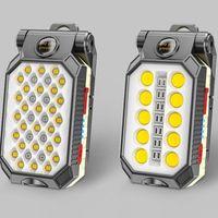 Drop Style Portable T6 + COB LED USB Recarregável ímã Gancho Trabalho Lanterna Torch + Bateria Bateria Lanternas Tochas