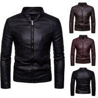 Jaqueta de couro casual de tendência masculina mola de moda essencial zipper pu magro moto estilo blazer jaquetas