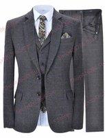 Мужской тонкий подходящий костюм реальная картина плед 3 шт куртка жилет брюки устанавливает формальные деловые костюмы свадьба смокинг жених блейзер заказ