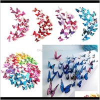 Décor & Gardenbutterfly Stickers Wall Decor Murals 3D Magnet Butterflies Diy Art Decals Home Kids Rooms Decoration 12Pcs Lot W-00557 Drop Del