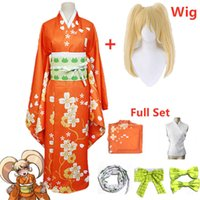Anime Süper Danganronpa 2 Hiyoko Saionji Kimono Cosplay Kostüm Yetişkin Kadınlar Turuncu Elbise Kimono Cadılar Bayramı Giyim Kostuums Q0821