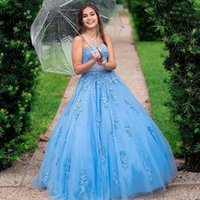 Light Blue Quinceanera Dresses 2021 Princess Ball Gown Sweetheart Sleeveless Lace Appliques Sequined Party Prom Sweet 16 Dress