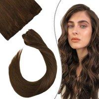 """Осуды человеческих волос UGEAT Micro Link Утканые расширения 10 """"Ширина 14"""" -24 """"Длина коричневой машины Remy Easy Beat 50G / Set"""
