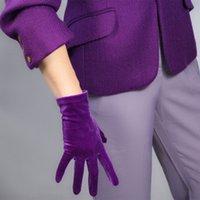Gold Velvet Gloves Winter Short Opera Noble High Elastic Flannel Dress Mittens Women Warm Cycling Driving Glove