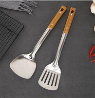 Juego de utensilios de cocina de acero inoxidable Utensilios de cocina Textura de madera Espátula Fritura Shovel Cucharada Colador Espesado Cocina de cocina Suministros Herramientas