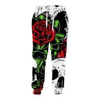 Men's Pants 2021 Large Size Autumn FashionPrint Green Leaves Red Rose White Skull Print Fashion Sweatpants