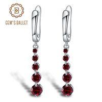 Ballet de Gem 2,67 CT Natural Red Garnet GemeStone Drop Boucles d'oreilles Véritable Pure 925 Sterling Sterling Bijoux fins pour les femmes 210611