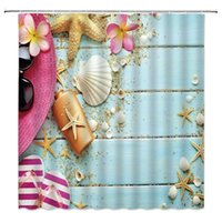 Wooden Starfish Shells Shower Curtain Flip Flop Straw Hat Flower Beach Sand Theme Tropical Ocean Holiday Fabric Bath Curtains