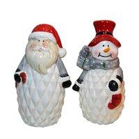 Декоративные объекты статуэтки рождественские творческие подарочные украшения снеговика лось окрашенные керамические украшения украшения гостиная