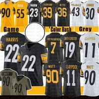 "22 Najee Harris 90 T.J. Watt Football Jersey Chase Claypool Juju Smith-Schuster Ben Roethlisberger Minkah Pittsburgh ""Steelers"" Polamalu Fitzpatrick Devin Bush"