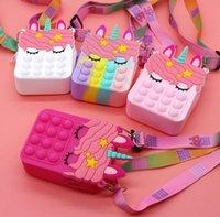 Stock Fidget Pops Sensory Bubble Bretelle Bletelle Bolso Celjetas Teleras Finger Pulsador Teléfono Pulso Funda Cambiar Monedero Monedero Descompresión Unicornio Popping Toys Kids