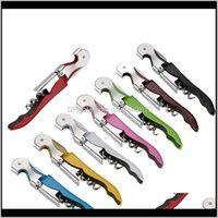 Openers Double Hinged Corkscrew Hippocampus Cutter Multifunctional Knife Bottle Opener Wine Key Black And Colored Mb3Rt Eet7H
