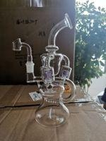 보라색 유리 봉 2 월 달걀 흡연 물 파이프 물 담뱃대 재활용 자 dab rigs 작은 휠 인라인 perc 물 봉 14mm banger