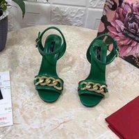 2021Summer New Luxury Brand Brand Elegante Sandali con tacco alto da donna in vera pelle Catena di moda Decorazione Peep Toe Stiletto Scarpe