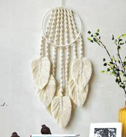Boho Dream Catcher Wall Decor for Bedroom Livingroom Feather Grey White Hanging Decoration Ornaments Craft Gift LLF11352