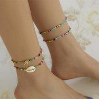 Boho Cute Rainbow Seed Beaded Leg Chain Fashion Statement Starfish Shell Pendant for Women Ankle Bracelets Tobillera Jewelry