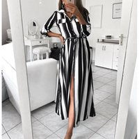 Casual Dresses 2021 Office Lady Turn-Down Collar Button Lace Up Long Shirt Dress Women Autumn Spring Sleeve Stripe Maxi