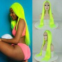 Neon Green Wig Proste Syntetyczne Przeciwko Wig Koronki Damska Średnia Włókna Żaroodporna Wig Party Cosplay