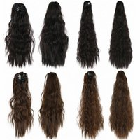 Synthetic Wigs Ponytail Claw In Fake Hair Piece Pony Tail Hairpieces Long Wavy Heat Resistant Fiber Black Brown Color