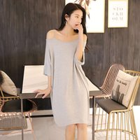 Suspender women's summer loose large off shoulder beach modal Maternity skirt mid length dress