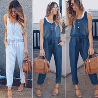 Women's Jumpsuits & Rompers Sleeveless Denim Playsuit Bodysuit Women Jumpsuit Womens Bodysuits Overalls For Streetwear Romper Woman Clothes