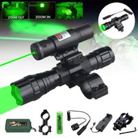 Flashlights Torches 300 Yards Zoomable Tactical Hunting Lantern Torch+18650+Charger+Rifle Clip+Switch+Green Laser Dot Si