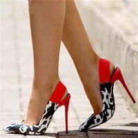 GOOFLONON Женские насосы обувь, супер высокие каблуки, разноцветные змеиные заостренные 12см сексуальные женские туфли 210827