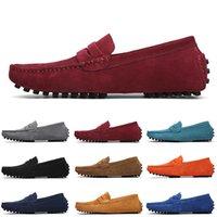 Alta Qualidade Não-marca Homens Casuais Camurça Sapatos Preto Luz Azul Vinho Vermelho Cinza Cinza Verde Verde Mens Slip no sapato de couro preguiçoso