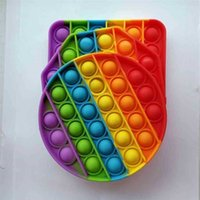 Children Finger Toys Silicone Rainbow Tie Dye Color Fidget Pads Toy Push Bubble Pop-its Sensory Stress Relief Ball Desktop Game H41S6KN