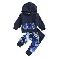 Giyim Setleri Bebek Bebek Kız Erkek Rahat Sonbahar Giysi Kravat Boya Seti Uzun Kollu Hoodies Kazak Elastik Pantolon Doğan Çocuk Kıyafetler 0-12M