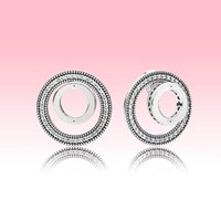 Double Circles Wedding Earring set 925 Silver Jewelry with Original logo box for Pandora Circle Stud Earrings for Women Girls