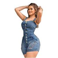 Slim Sleeveless Jeans Jumpsuit Denim Spielanzug für Frauen 2021 Buttons Plus Size Eleganz Baumwolle Frau Damen Kurzer Strampler