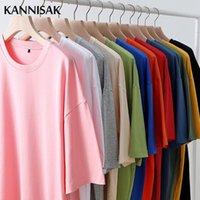 T-shirt da uomo 2021 Oversized Pure Color Cotton Harajuku Tshirt O-Neck Summer Manica Corta Giapponese Tees Casual Quality Tops