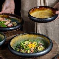 1 unids Kinglang Kiln creativo Hielo Split Split Llaquin Placa De Cerámica Japonés Sushi Sashimi Plato Platos Platos Platos